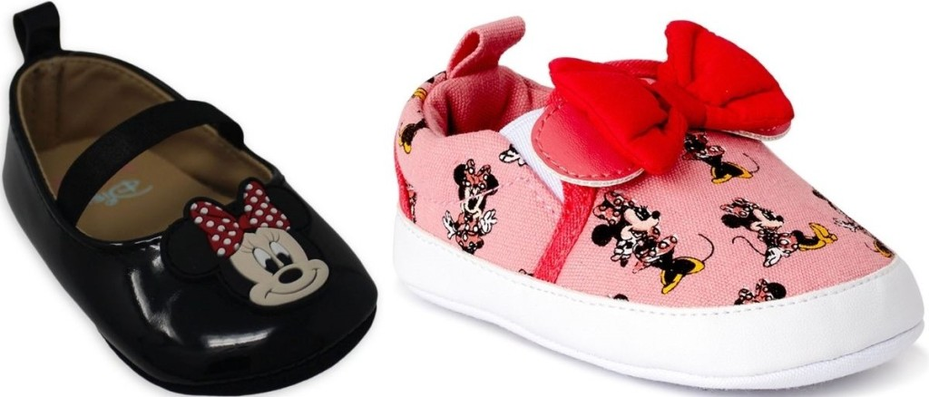 two baby shoes with minnie mouse on them
