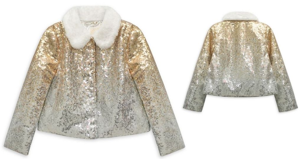 front and back of Disney Girls Sequin Jacket
