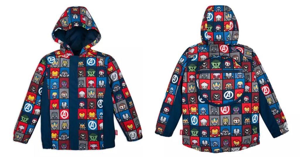 front and back of Disney Marvel AVenger Packable Raincoat