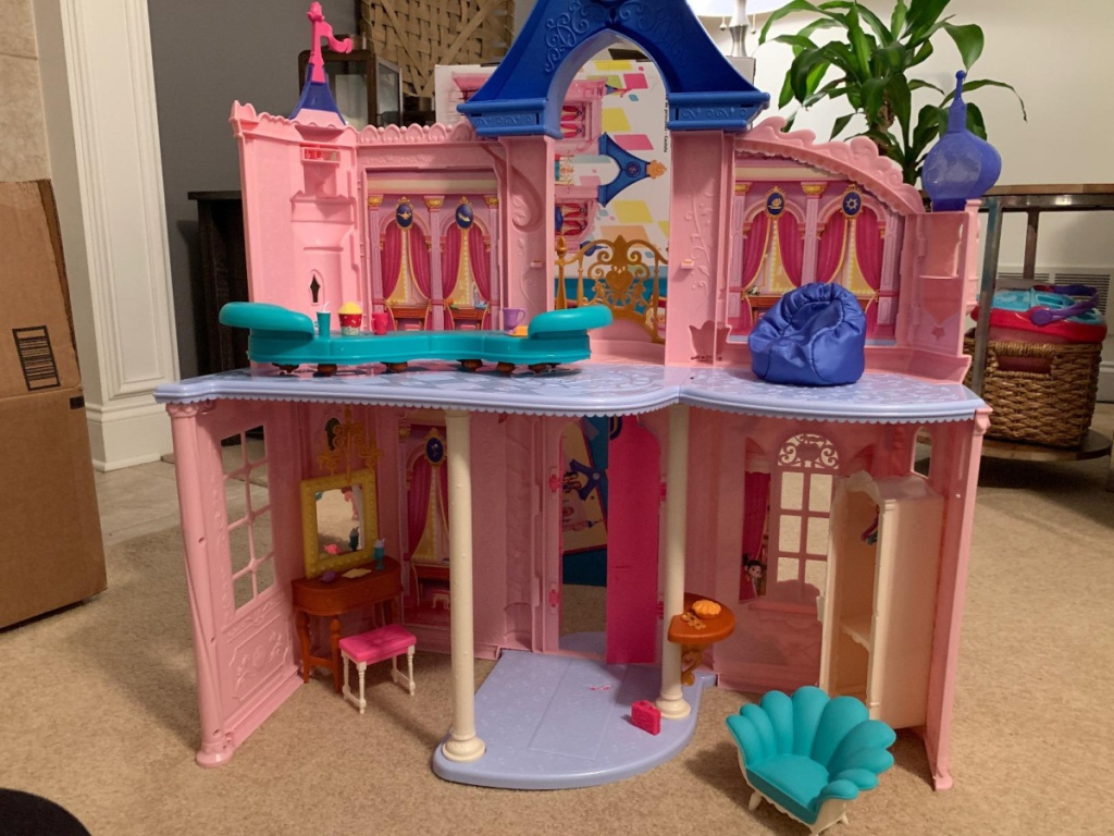 Disney Princess toy castle and furniture in home
