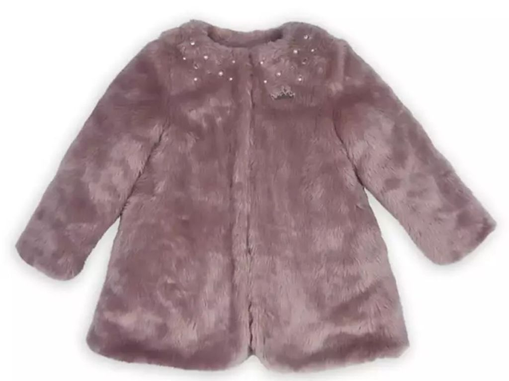front view of Disney Princess Pink Faux Fur Jacket for Girls on white background