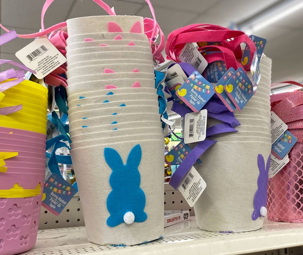 small baskets with bunnies on them on shelf at dollar tree