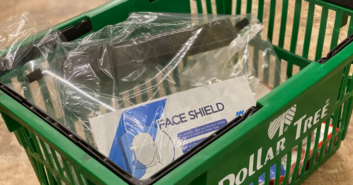 Dollar Tree Face Shields in basket