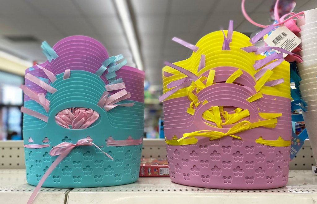 pastel plastic easter baskets on shelf at dollar tree