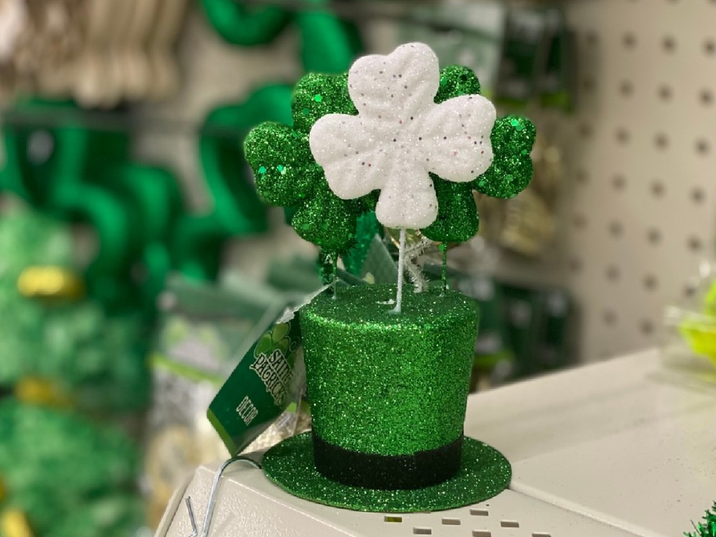 mini green leprechaun hat decor on store shelf