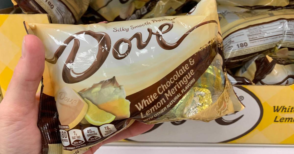 Lemon Meringue Dove chocolates in bag