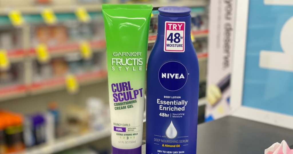green bottle of curl care and lotion