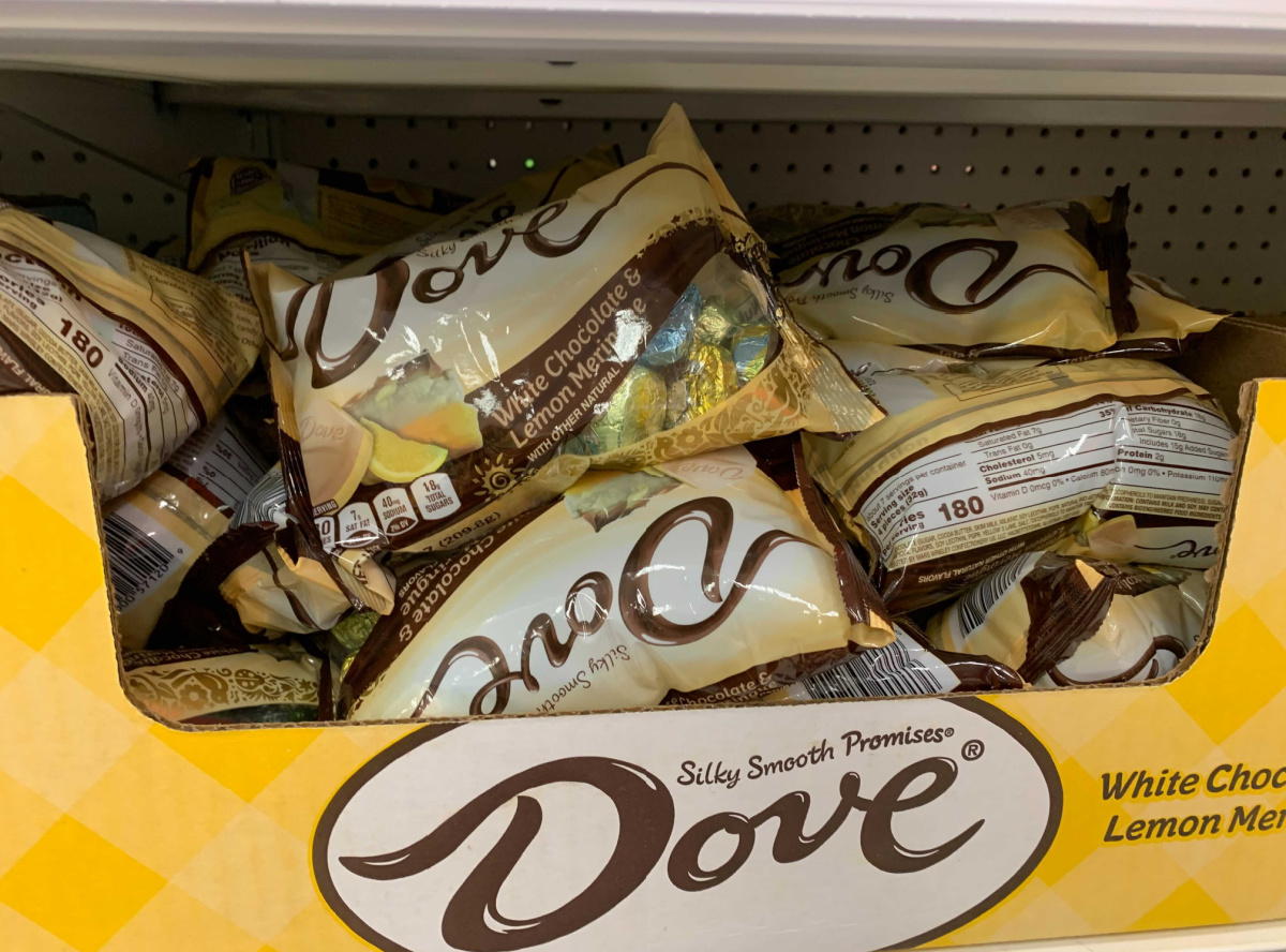 Dove brand chocolates in bags on display in-store