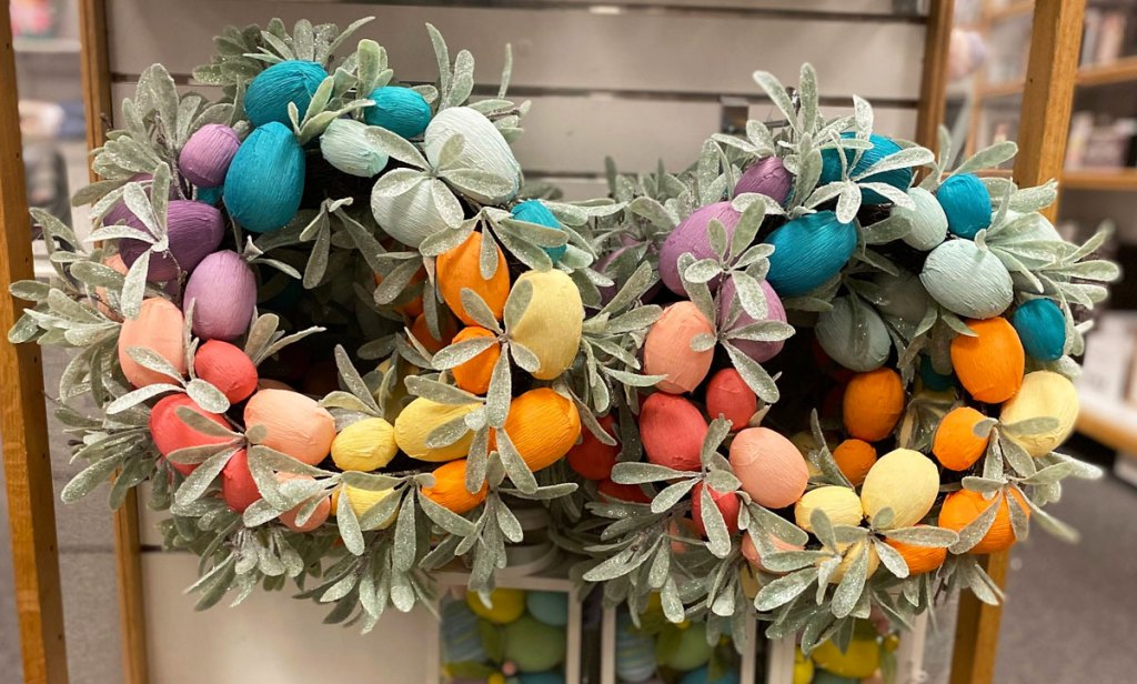 spring wreaths with rainbow colored easter eggs