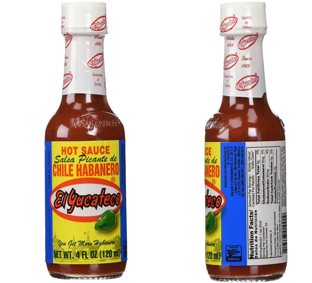Front and side view of a bottle of hot sauce