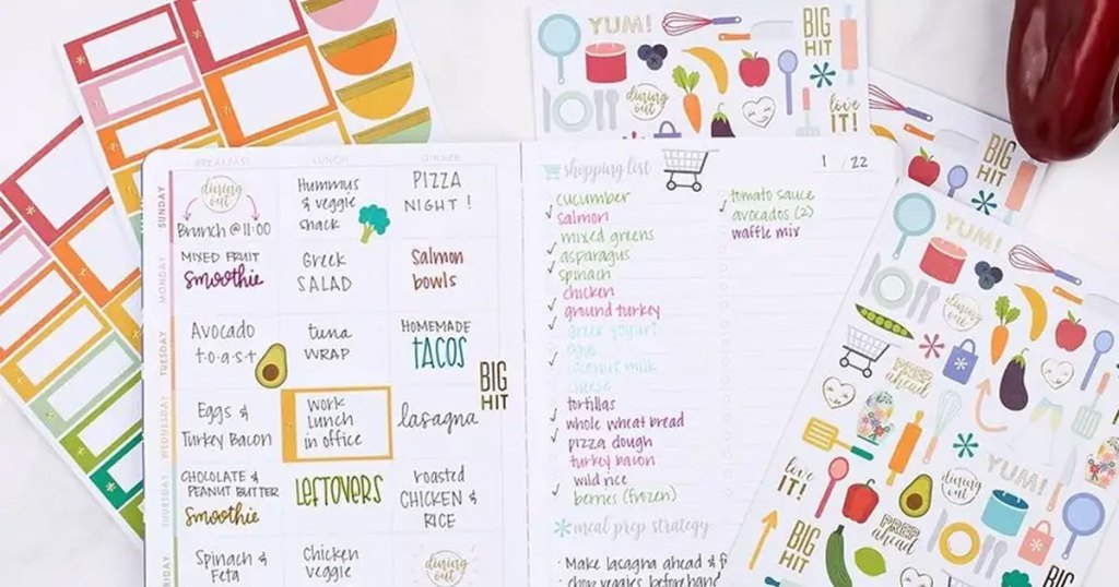 meal planning journal with stickers