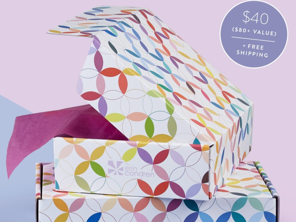Erin Condren Surprise boxes stacked on top of each other