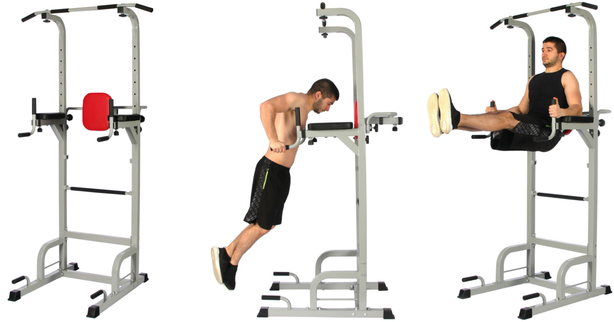 three stock images of an exercise tower being used by a man in black clothing