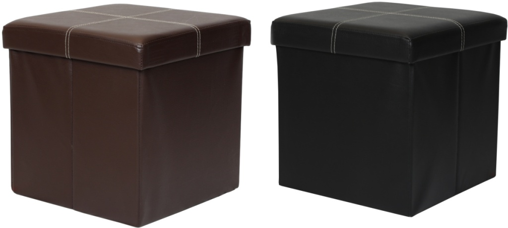 Two faux leather ottomans - brown and black