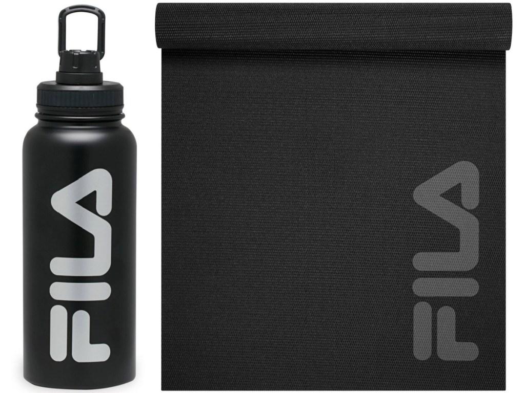 Fila water bottle and yoga mat