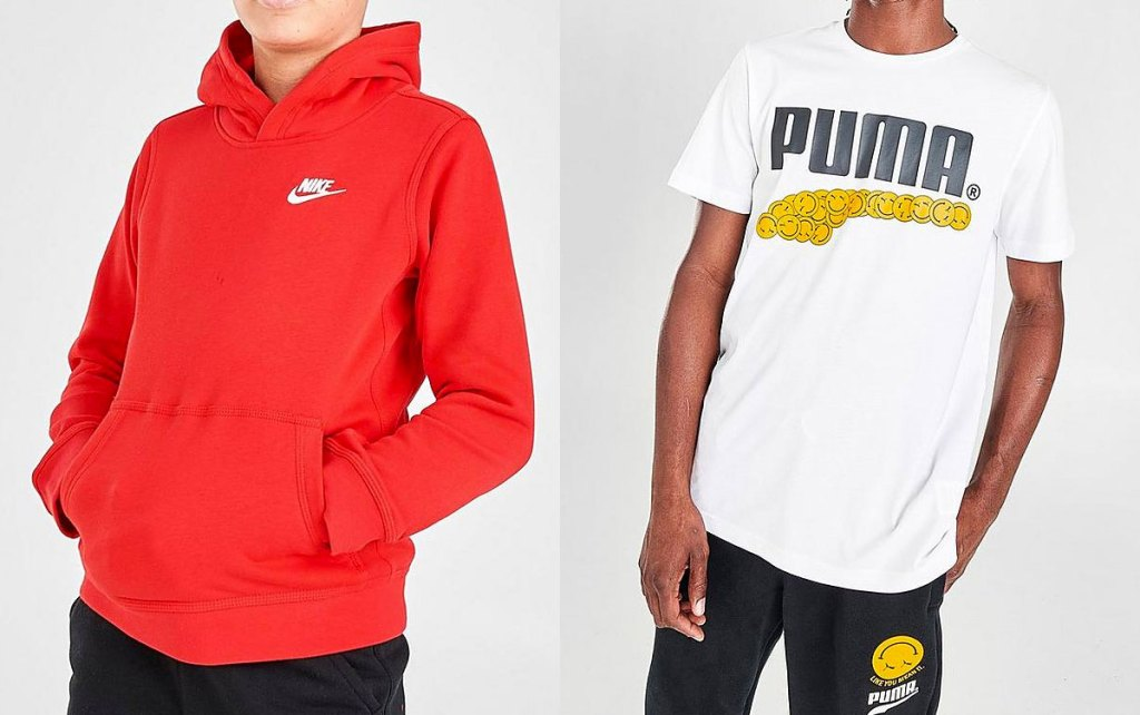 boy in red nike hoodie and man in white puma tshirt