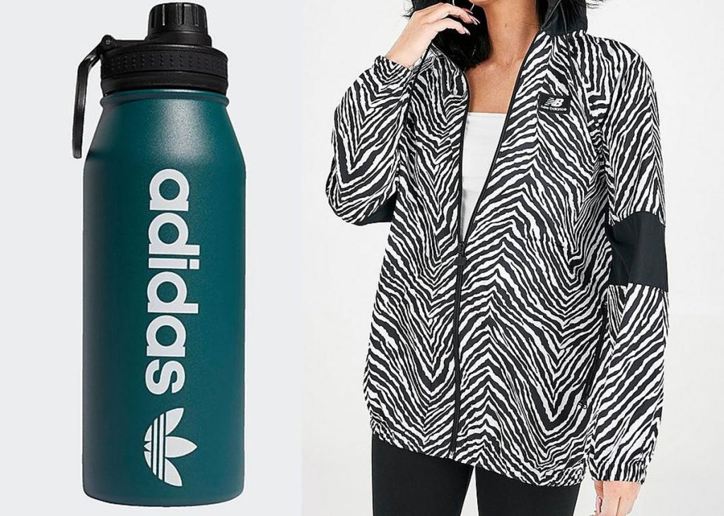 green adidas water bottle and woman in zebra print jacket