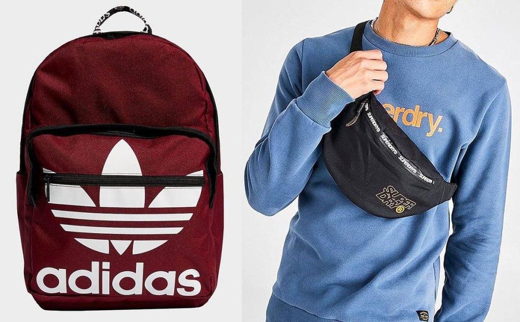 red and white adidas backpack and man with black superdry crossbody bag