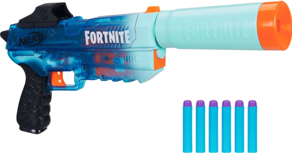 NERF toy with blue darts