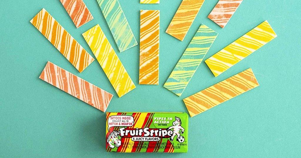 colorful unwrapped sticks of fruit stripe gum