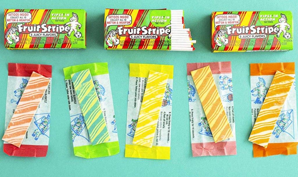 unwrapped sticks of fruit stripe gum
