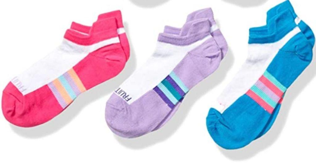 3 pair of Fruit of the Loom Girls Socks