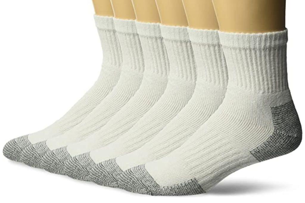 6 pair white Fruit of the Loom Short Boot Crew Socks