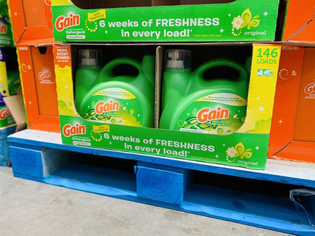 gain laundry detergent display at Sam's Club