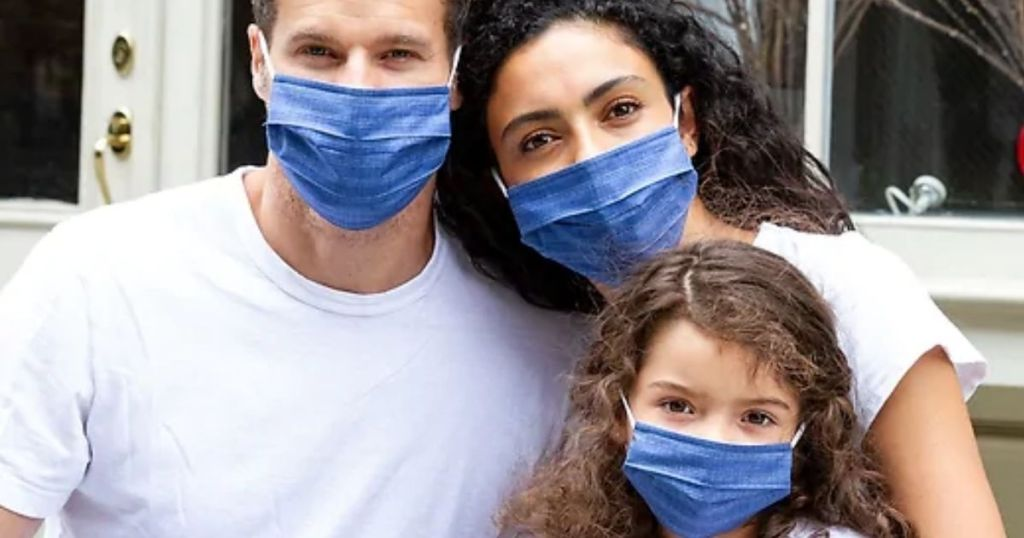 man, lady, child wearing Gap Factory Reusable Family Face Masks