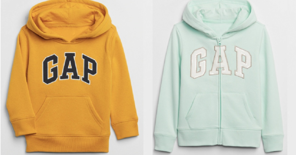 Gap hoodies next to each other in yellow and mint
