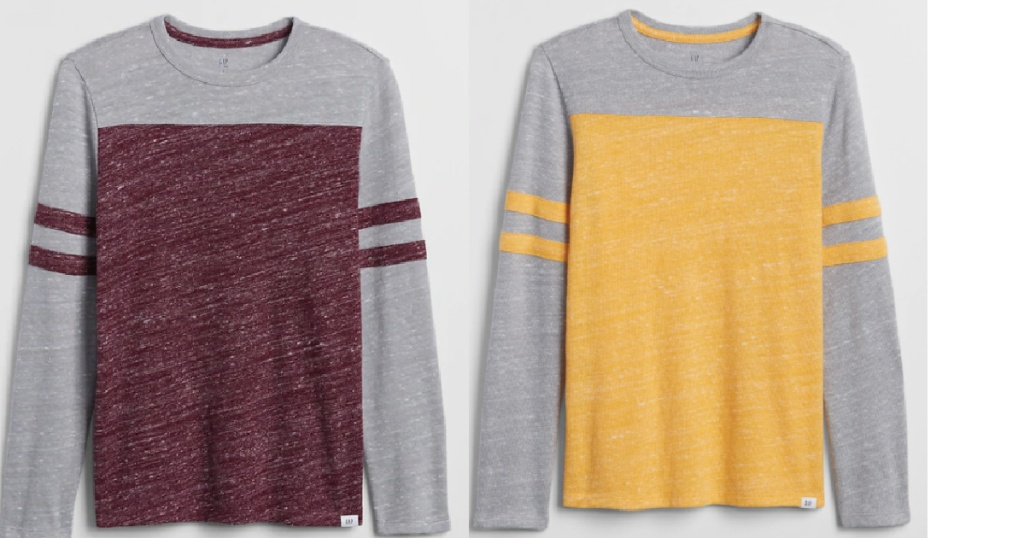 red and yellow gap shirts