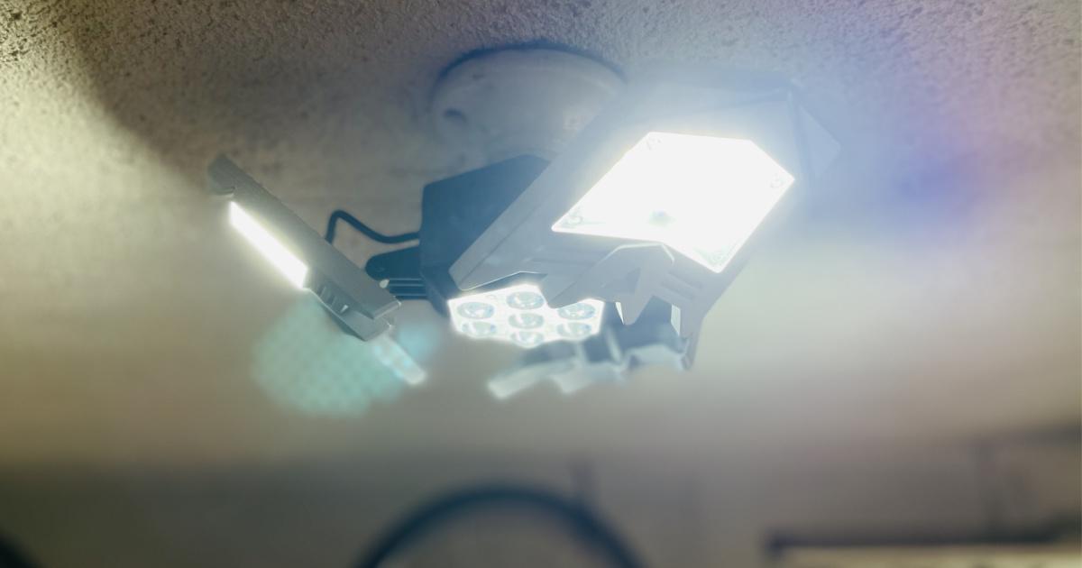 Adjustable garage light on ceiling