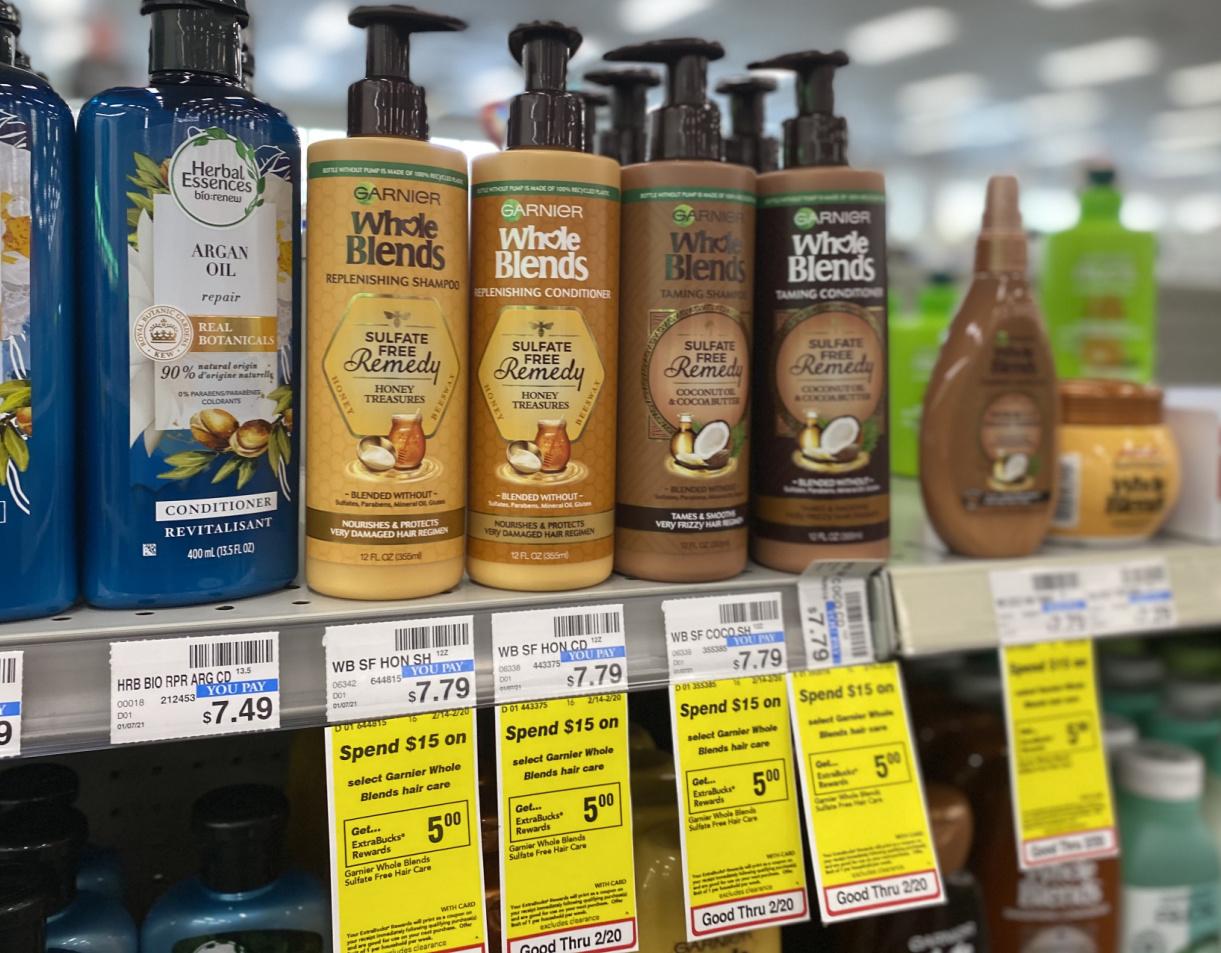 In-store display of Garnier brand shampoo