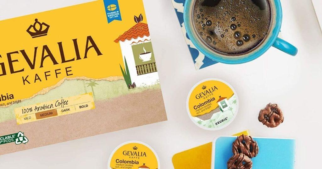 Gevalia coffee box by cup of coffee