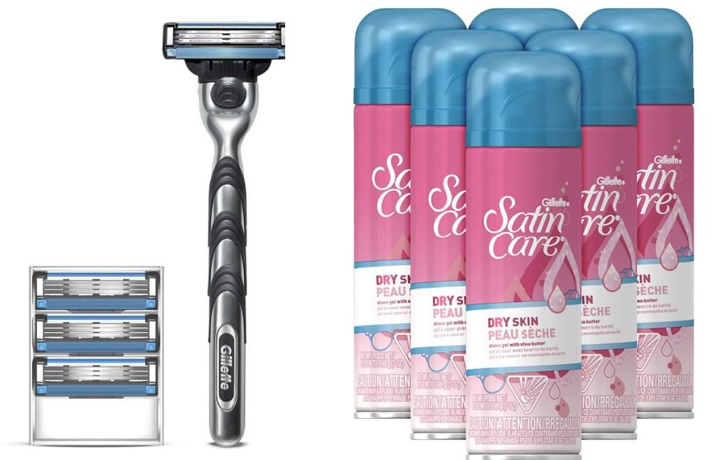 Gillette Mach 3 razor and satin care dry skin shave cream