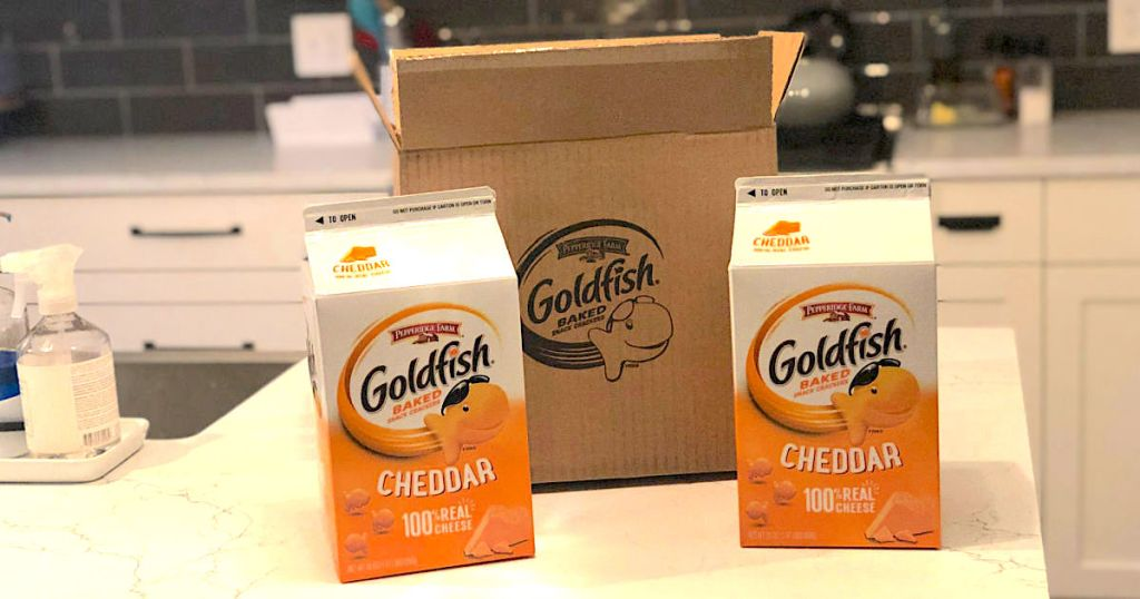 Large cartons of Goldfish Crackers on kitchen counter