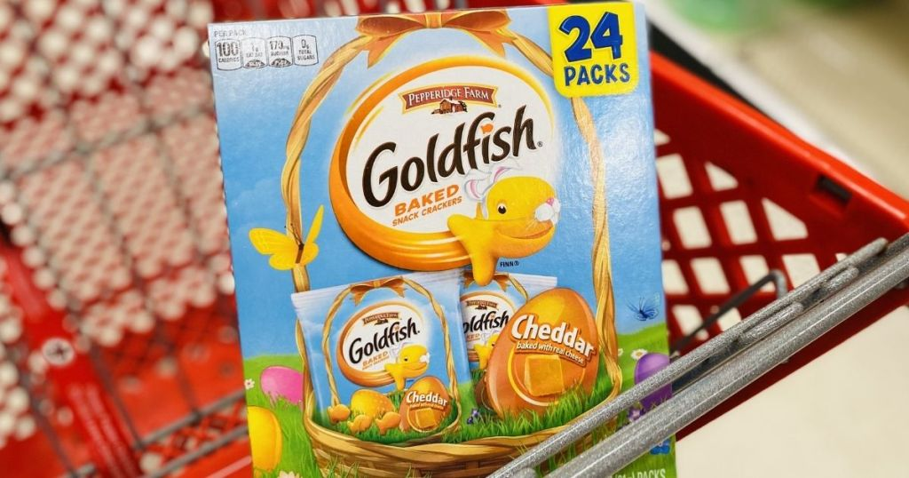 Goldfish crackers in a Target cart