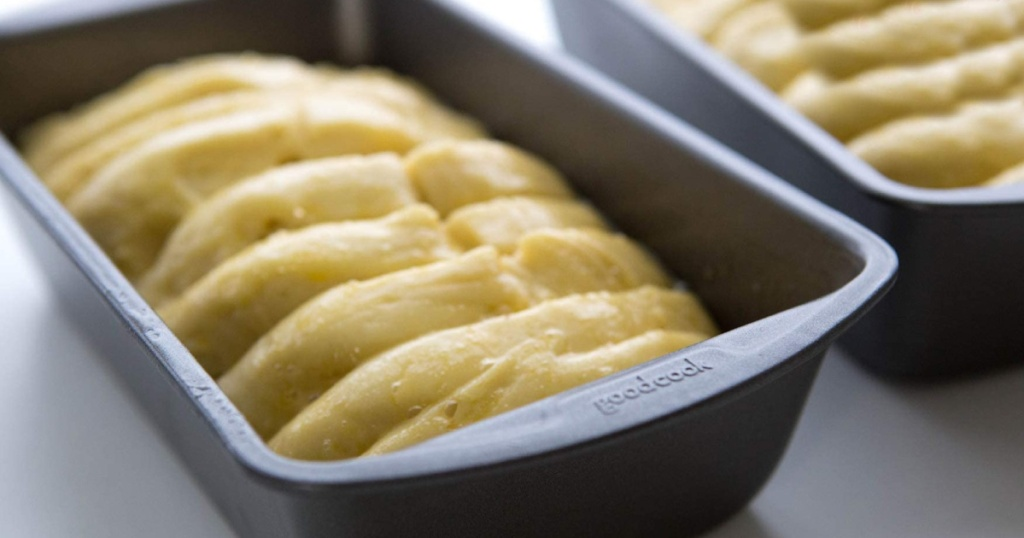 good cooks metal loaf pan with bread dough