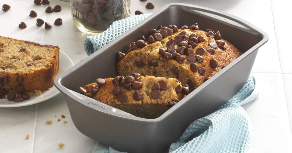 Good Cooks Metal Loaf Pan filled with chocolate chip bread