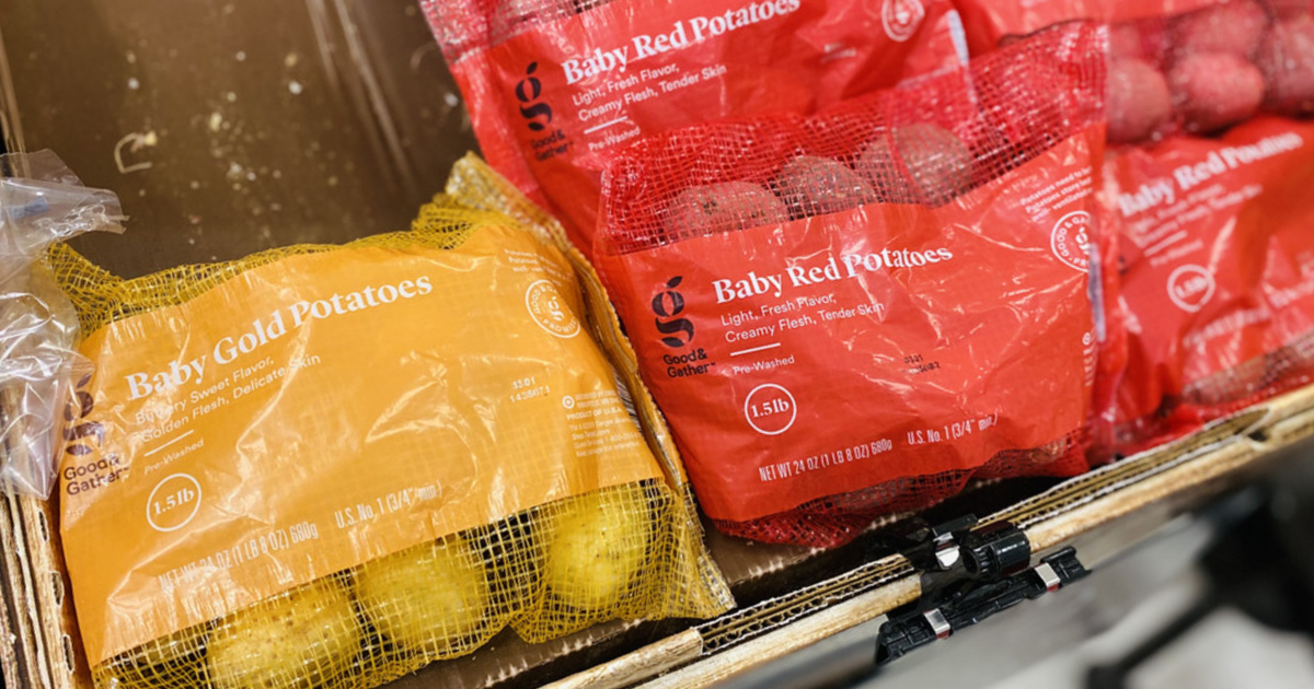 bags of baby gold and red potatoes in store