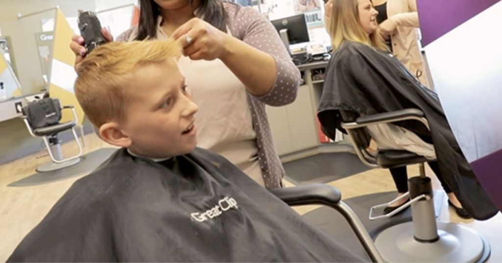 boy getting a Great Clips Haircut