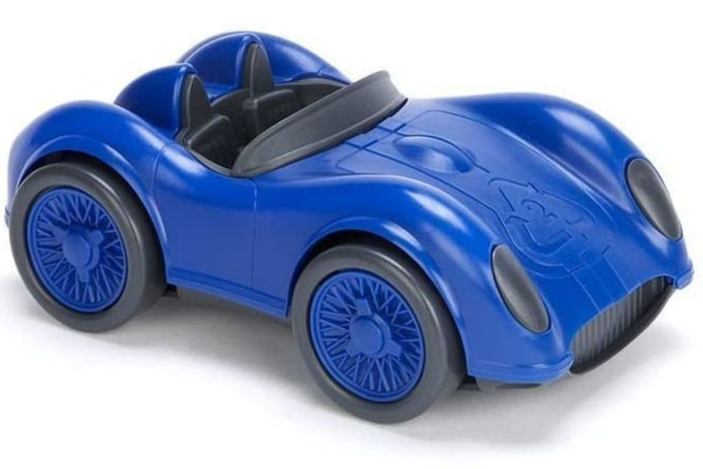 Green Toys Blue Race Car on white background