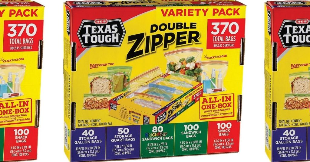 H‑E‑B Texas Tough Double Zipper Bags 370-count Variety Pack