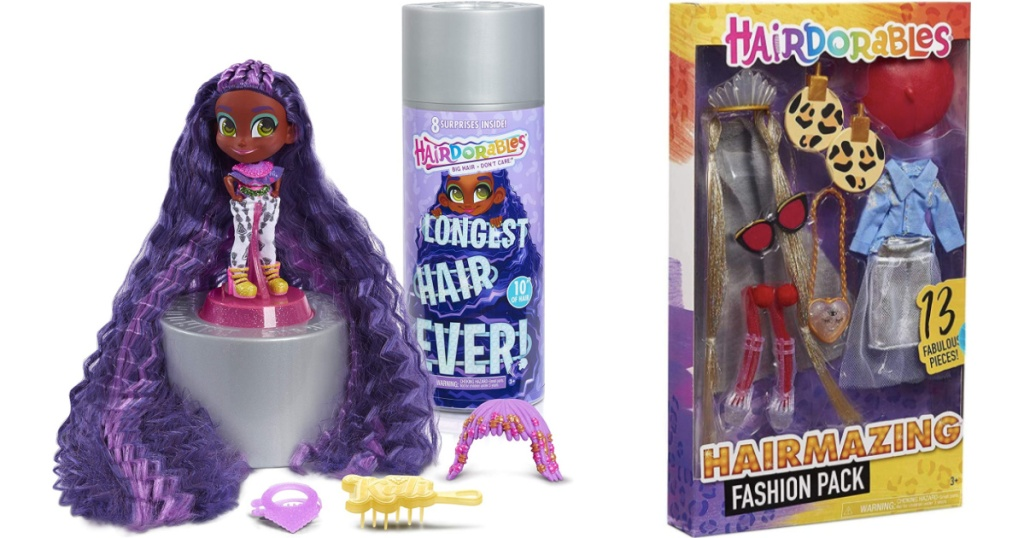 hairdorable purple hair kali and a fashion pack
