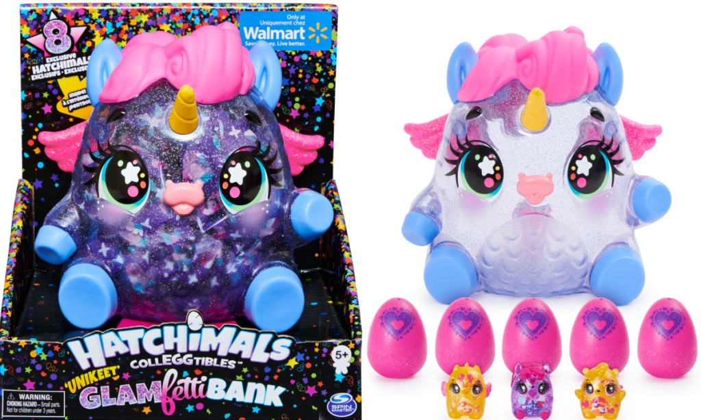 Hatchimals unicorn themed bank in package and out