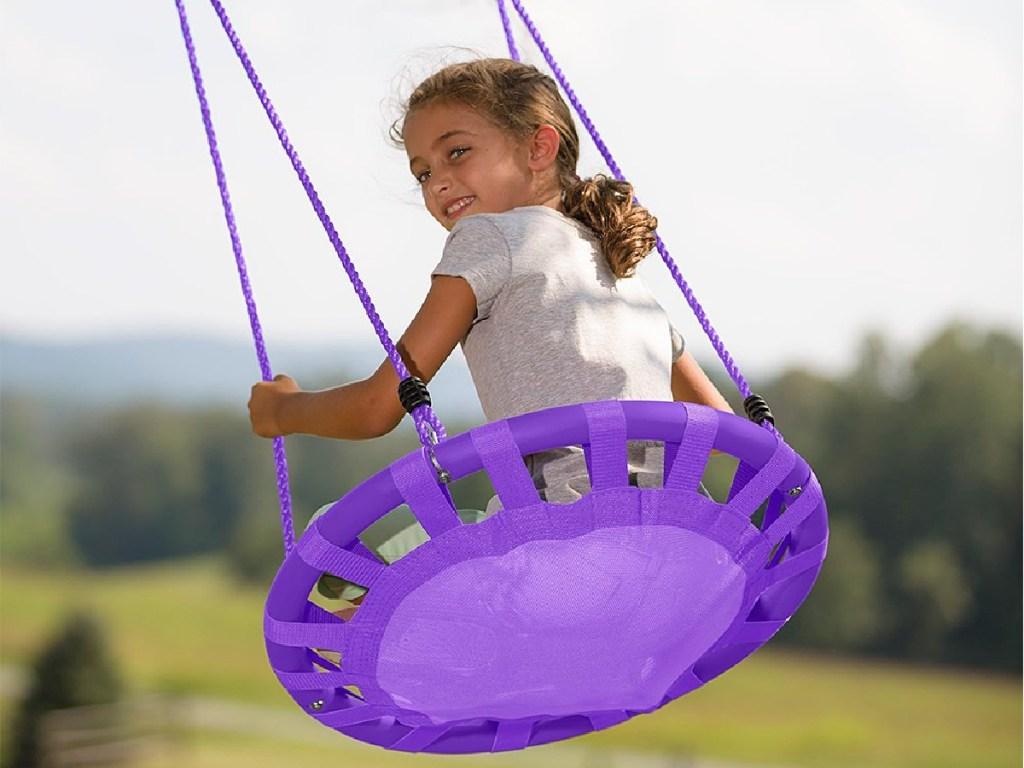 HearthSong Purple Round Mat Swing