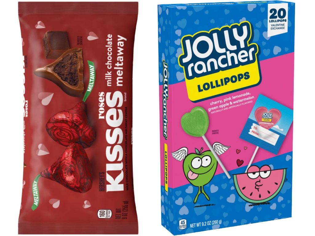 Hershey's roses meltaway candy and Jolly Rancher Valentine's Lollipops 20-Count