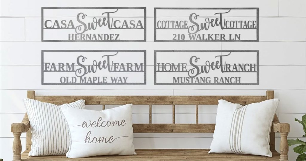 four home sweet home signs above wood bench with throw pillows