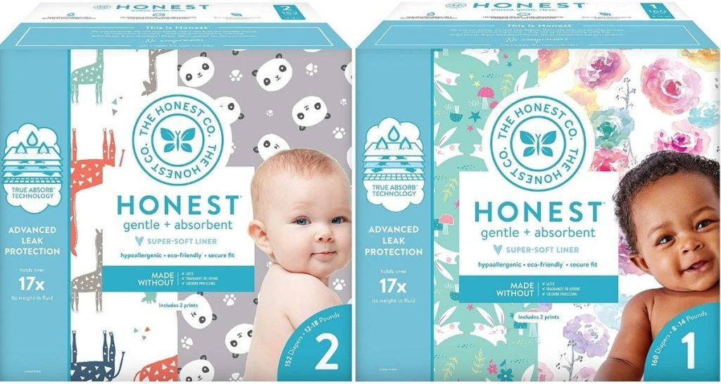 Two boxes of Honest diapers