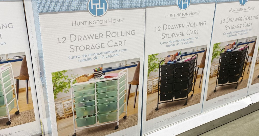 12 drawer storage carts in boxes on aldi shelf